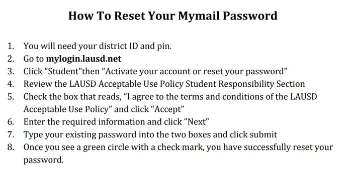 How to Reset your LAUSD Password